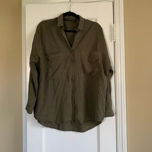 Green Zara over sized button down